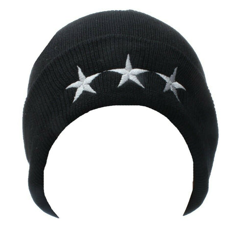 Black With White Embroidered Stitched Trio of Triple Stars Beanie Unisex