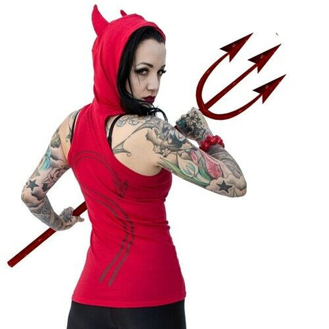 Kreepsville 666 Red Devil Tail Hooded Hoodie Tunic Top With Devil Horn Hood