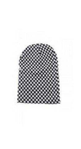 Black & White Oversize Checked Checkered Slouch Beanie
