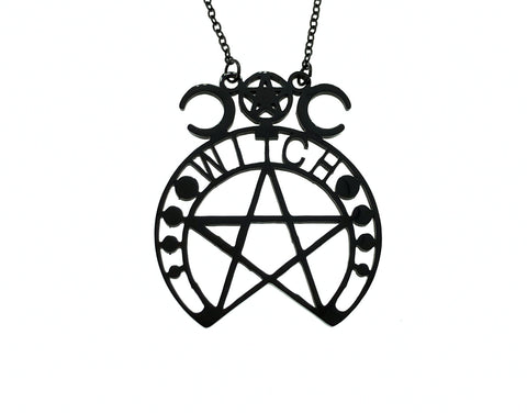 Pentagram Witch Black Satanic Gloss Metal Necklace Pendant Black Chain