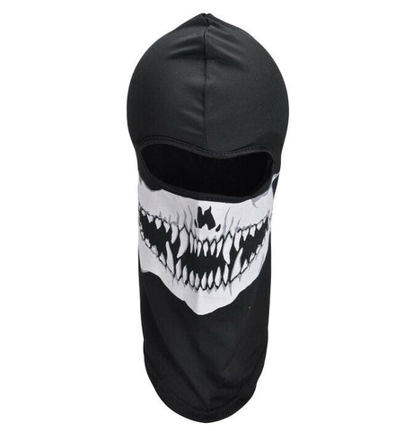 Overhead Black Skeleton Print Fanged Canine Teeth Bandana Face Mask Modern Warfa
