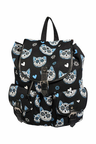 Banned Apparel Blue Kitty Cat Sugar Skull Backpack Bag