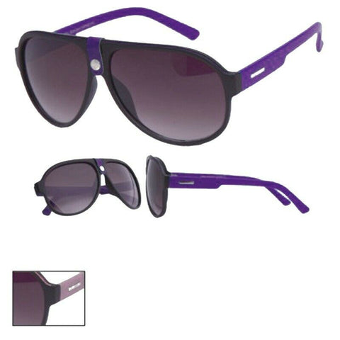 Black Sunglasses With Purple Colour Arms and Bridge Detail UV Protection