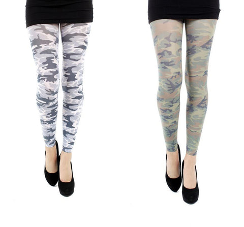Pamela Mann Military Printed Footless Womens Tights Black/White or Green