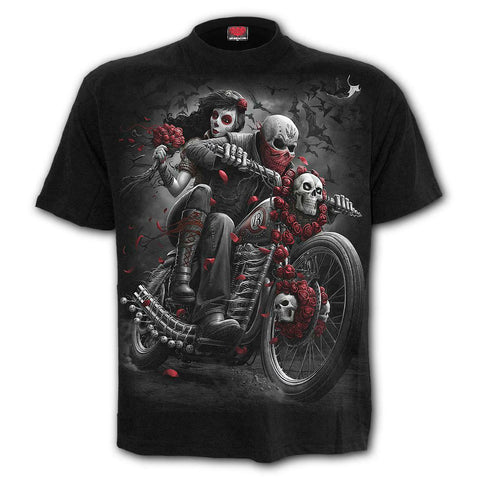 Spiral Direct Day of the Dead DOTD Sugar Skull Roses Motorbike T-shirt
