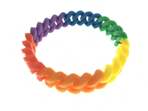 LGBTQ Gay Pride Rainbow Flag Silicone Chain Bracelet Effect Gummy Wristband