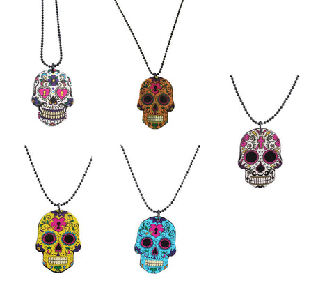 Sugar Skull Day of the Dead Skeleton Chain Necklace Pendant