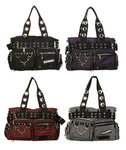 Banned Apparel Striped Gothic Rock Handcuff Handbag Bag Studded Buckles