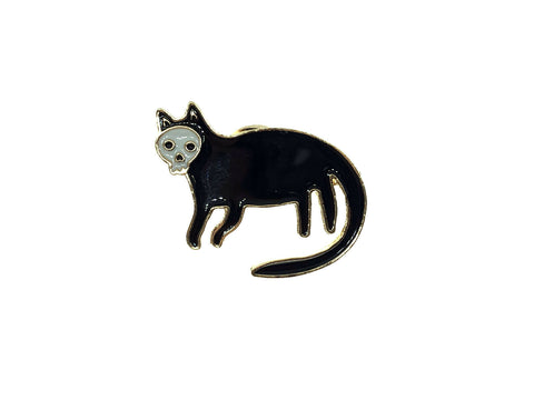 Black Witch Cat Skull Face Skeleton Goth Kitty Gold Enamel Pin Badge