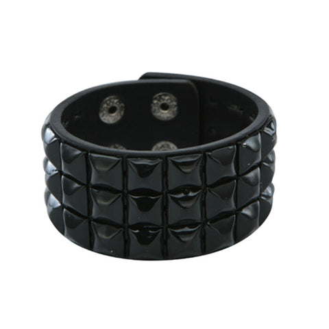 Black Checked Studded Wristband 3 Row Pyramid Stud Cuff Checkered Goth