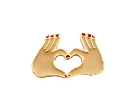Hands Loveheart Love Gesture Sign Enamel Pin Badge