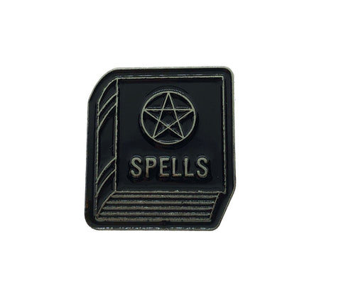 Witches Book of Spells Pentagram Black Silver Enamel Pin Badge