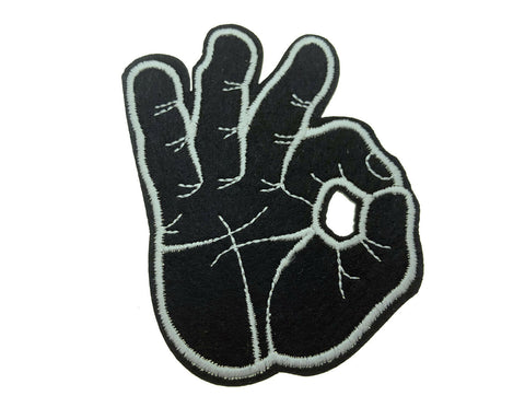 OK Hand Gesture Symbol Black Embroidered Fabric Iron on Patch