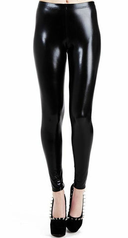 Pamela Mann Black Wet Look Leggings Elasticated Waistband Womans