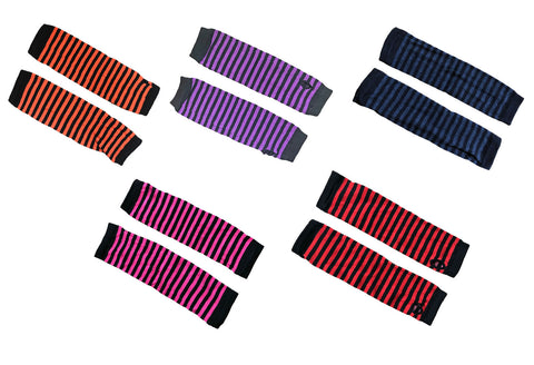 Striped Stripy Armwarmer Gloves Purple Red Grey Pink & Black Womens Thumb Holes