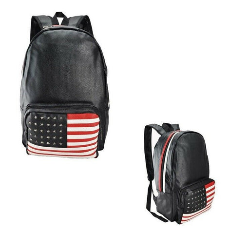 USA United States Stars and Stripes Black PU Faux Leather Star Studded Flag Back