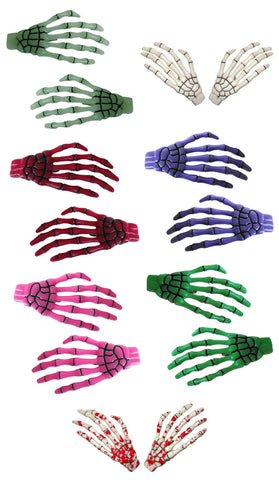 Kreepsville 666 Skeleton Bone Hands Hair Slides Pair All Colours Goth