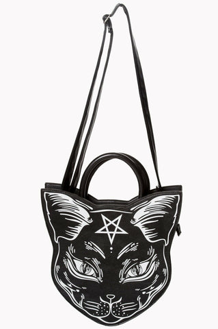 Banned Apparel Nemesis Cat Shaped Satanic With Symbols Hand Bag