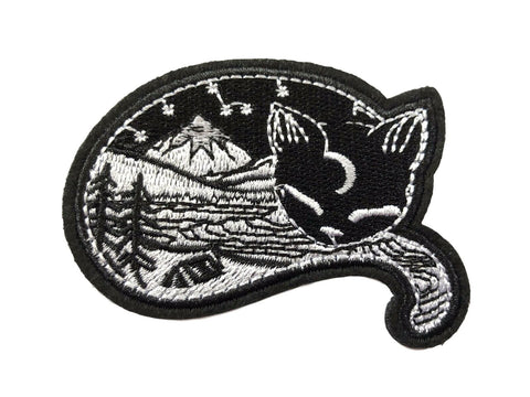 Black Cat Mountain Forest Landscape Fabric Iron On Patch