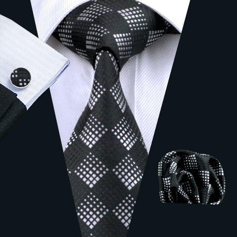 Silk Silver & Black Jacquard Woven Mens Tie, Pocket Square & Cuff Links Set