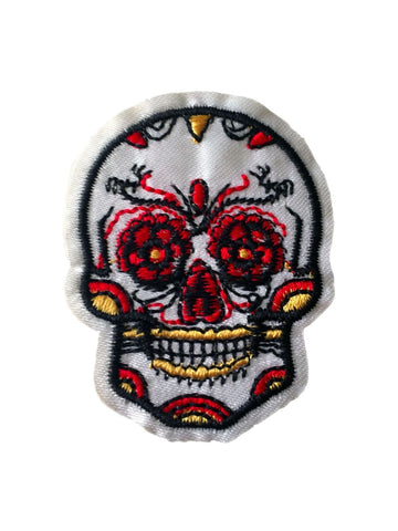 Sugar Skull Day of the Dead White Skeleton Fabric Patch Iron On Sew On Embroider