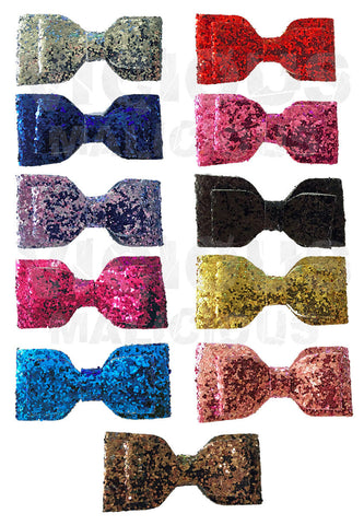 Glitter Bow Hair Clip Accessory Slide Double Layered Bow Party Womens Girls
