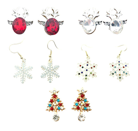 Christmas Holiday Festive Snowflake Tree Party Reindeer Dangle Earrings Studs