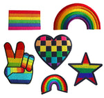 Rainbow Flag Star Peace Heart Gay Pride Fabric Iron On Embroidered Patch