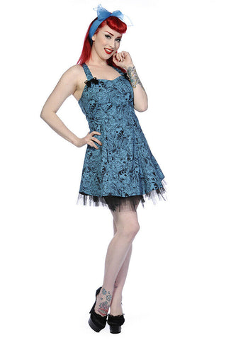 Banned Apparel Blue Skull and Roses Mini Dress Womens