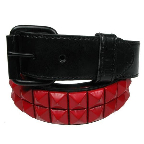 Bullet 69 Pyramid Murdered Out Matte Red 2 Row Pyramid Stud Studded Belt