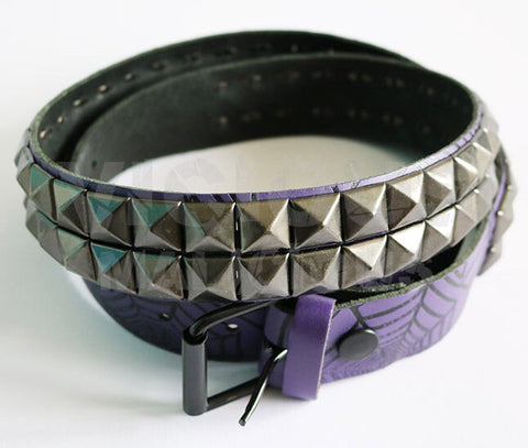 Bullet 69 Purple Black Spiders Web Grey Gun Metal Studs Pyramid Studded Belt