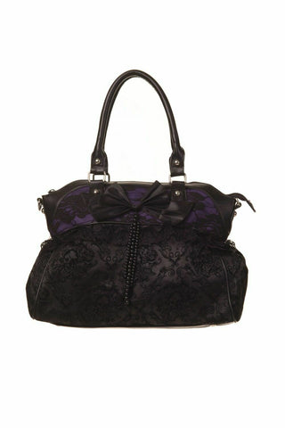 Banned To The Wire Black Purple Flocked Lace Bow Gothic Handbag