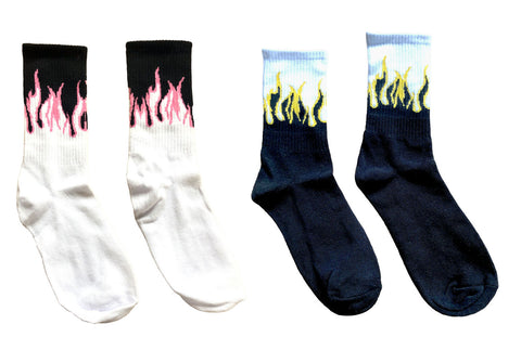 Flame Flaming Skater Socks Black Yellow Pink Unisex Flames Sports Crew Sock