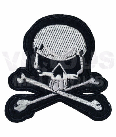 Skull and Crossbones Skeleton Fabric Patch Iron On Sew On Embroidered Badge Skul