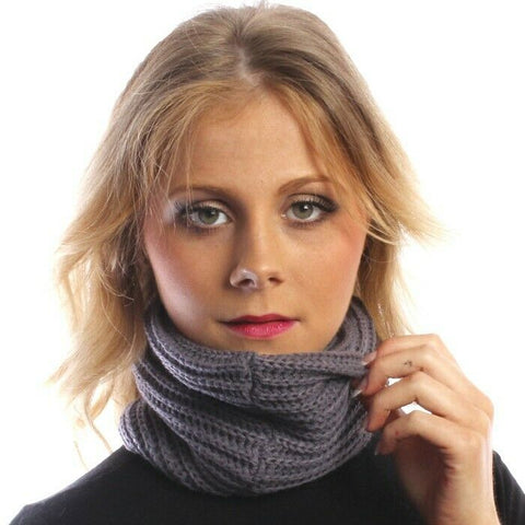 Lilac Grey Multifunctional Scarf Snood Headwear Thick Knitted