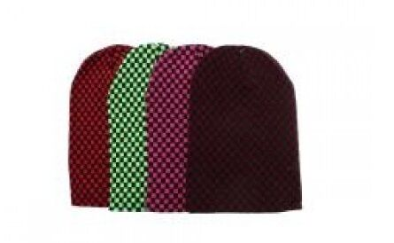 Long Slouch Checked Checkered Beanie Hat Red Green Pink or Burgundy