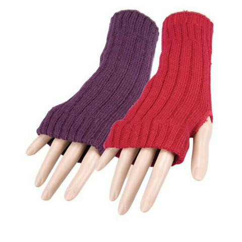 Purple or Red Long Rib Knit Gloves Womens Armwarmers Fingerless