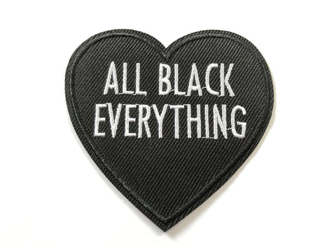 All Black Everything Loveheart Goth Love Darkness Fabric Iron On Patch