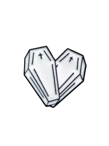 White Double Coffin Heart Loveheart Enamel Pin Badge