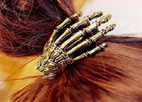 Skeleton Hand Metal Horror Silver or Gold Hair Grip Band Bobble