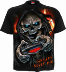 Spiral Direct RESPAWN Gamers Never Die Skeleton Grim Reaper Gaming T-shirt