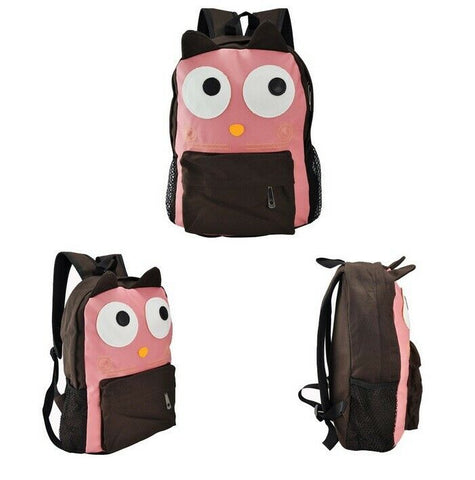Pink Faux PU Leather Kawaii Owl Face Backpack Bag With Ears