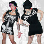Kreepsville 666 White Skeleton Tunic Dress Womens