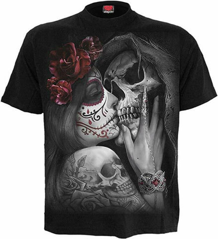 Spiral Direct DEAD KISS Sugar Skull Kissing Grim Reaper Skeleton Skull T-shirt