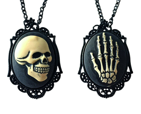 Skull Skeleton Hand Black Bone Cameo Necklace Steampunk Goth