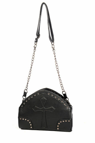 Banned Apparel Cross Gothic Black Faux Leather Womens Handbag Shoulder Bag