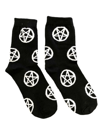 Pentagram Devil Symbol Satan Black and White Goth Socks