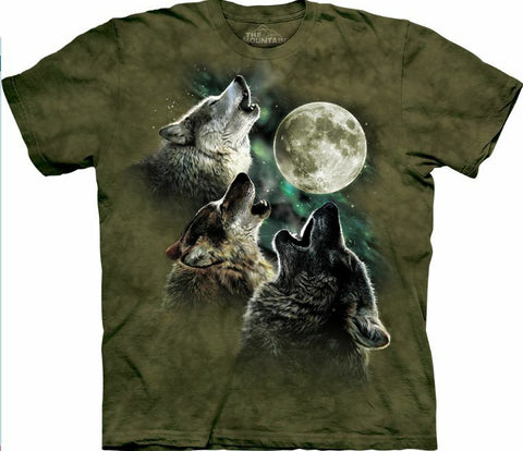 The Mountain Three Wolf Moon Olive Army Green Wolves T-shirt