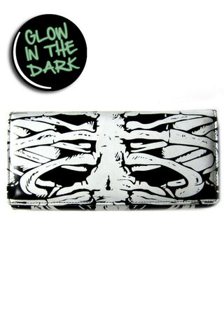 Banned Apparel Skeleton Bones Rib Cage Glow In The Dark Womens Purse Wallet