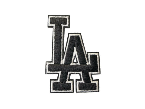 LA Black & White Fabric Iron On Patch Badge Embroidered